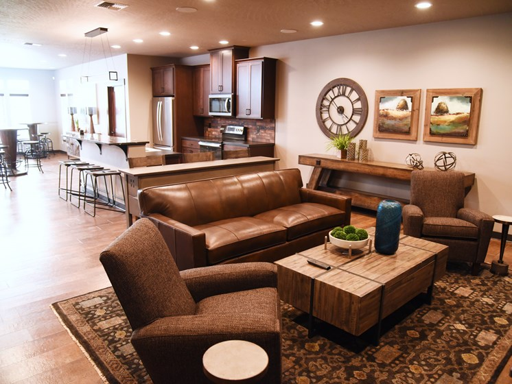 Ample Sitting Space In Clubhouse at The Brix Apartments, Spokane Valley, WA, 99037