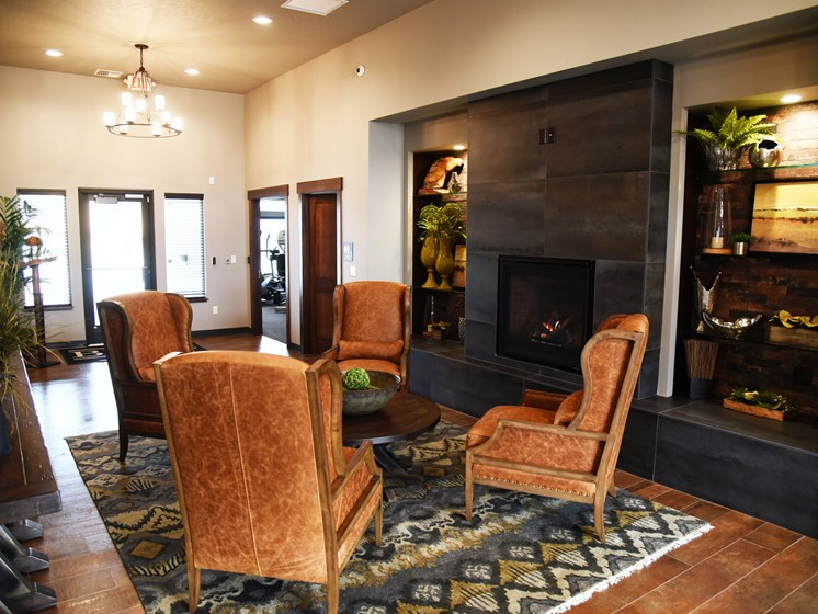 Clubhouse With Fireplace at The Brix Apartments, Spokane Valley