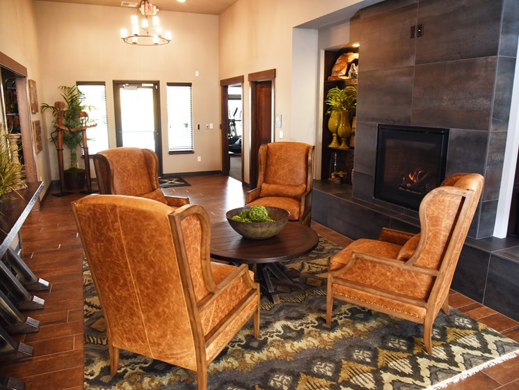 Lobby Area With Fireplace at The Brix Apartments, Washington
