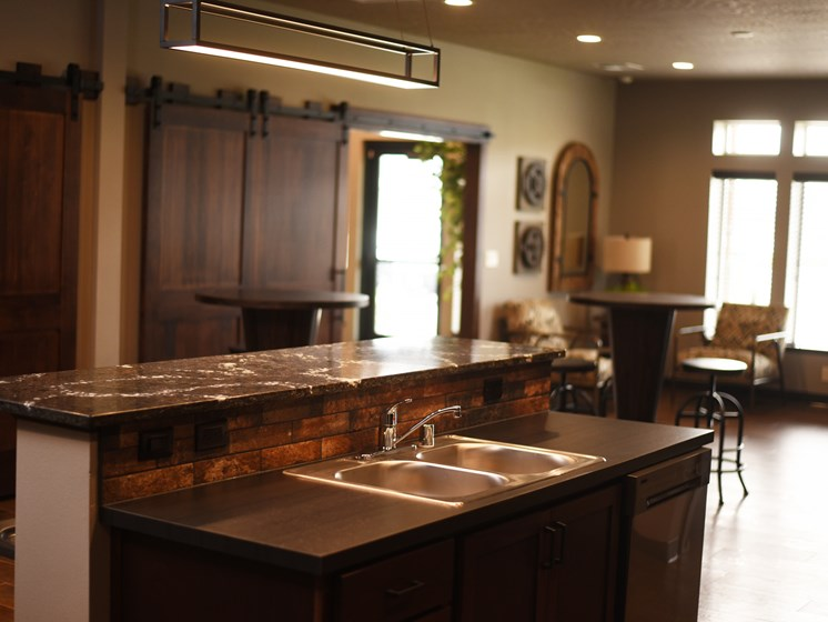 Double Stainless Steel Sink at The Brix Apartments, Spokane Valley, Washington