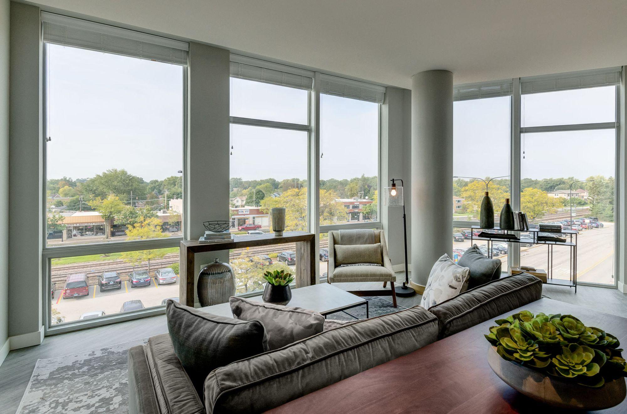 Living room overlooking large windows