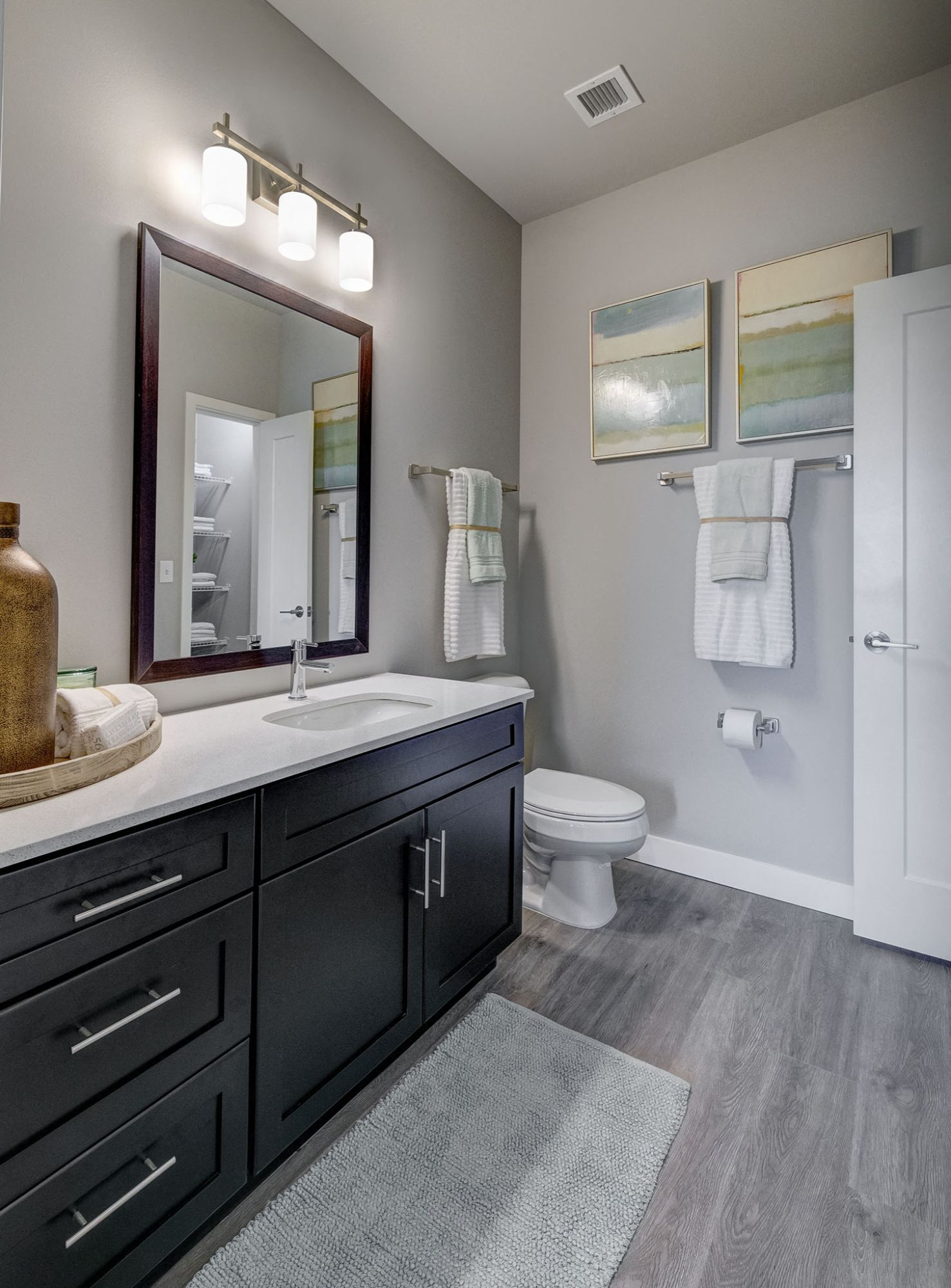Bathroom counter with toilet and tub shower combination