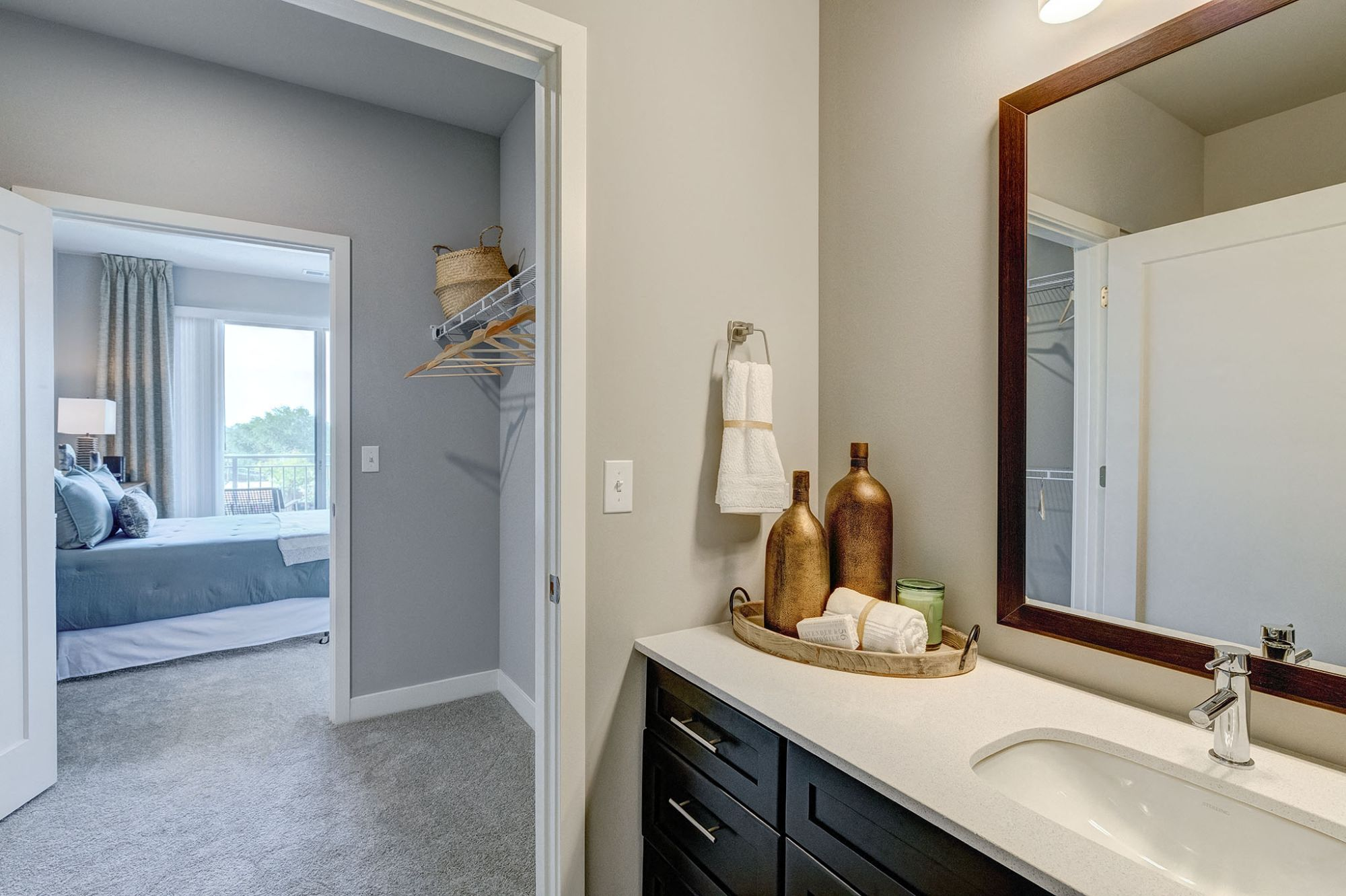 Bathroom counter with mirror