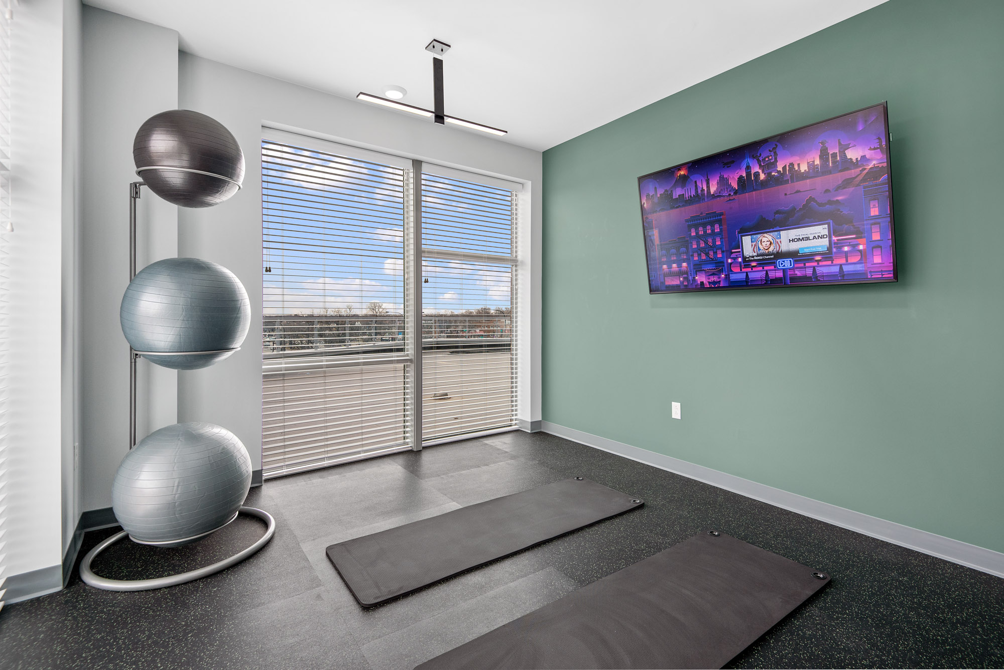 Yoga room with TV, exersize balls, and two yoga mats