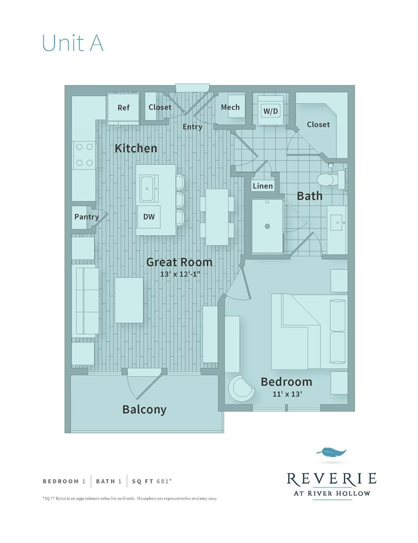 1 Bedroom apartment with Great Room
