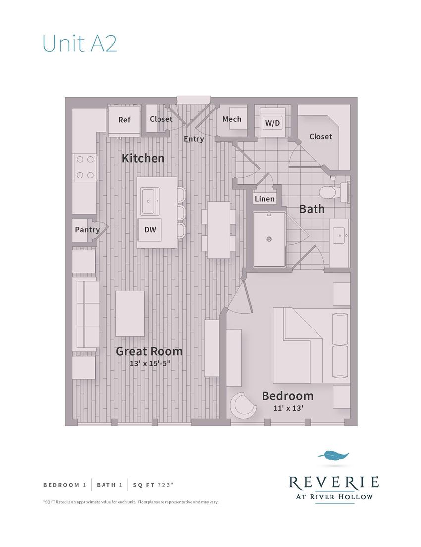 A2 1 Bedroom apartment with Great Room