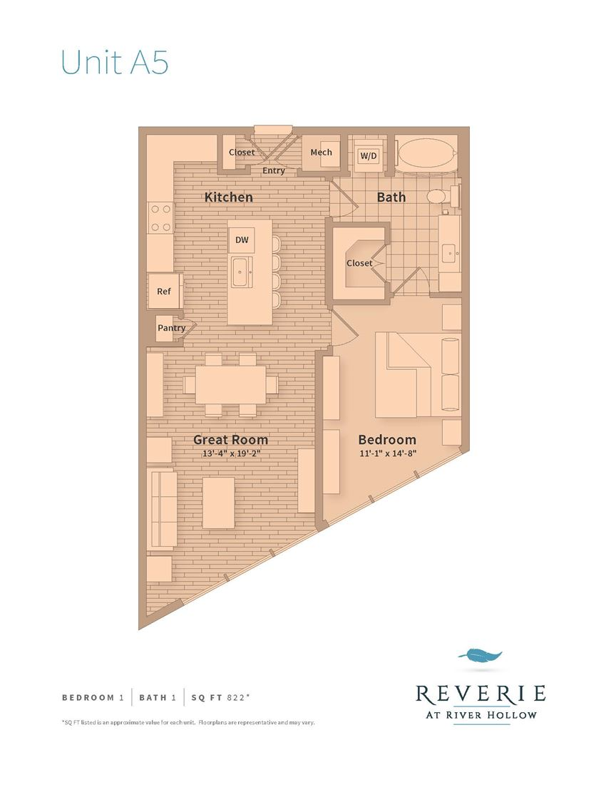 A5 One bedroom apartment rental