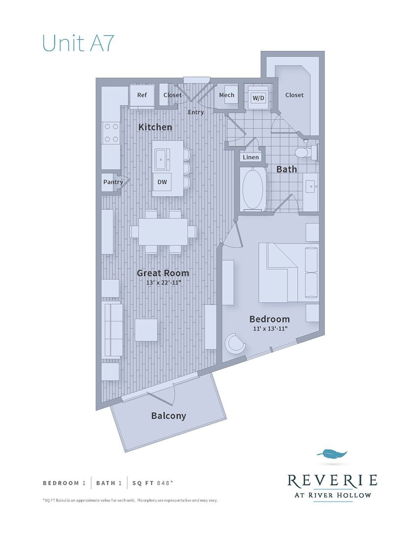 Spacious 1 bedroom apartment for rent, A7 plan