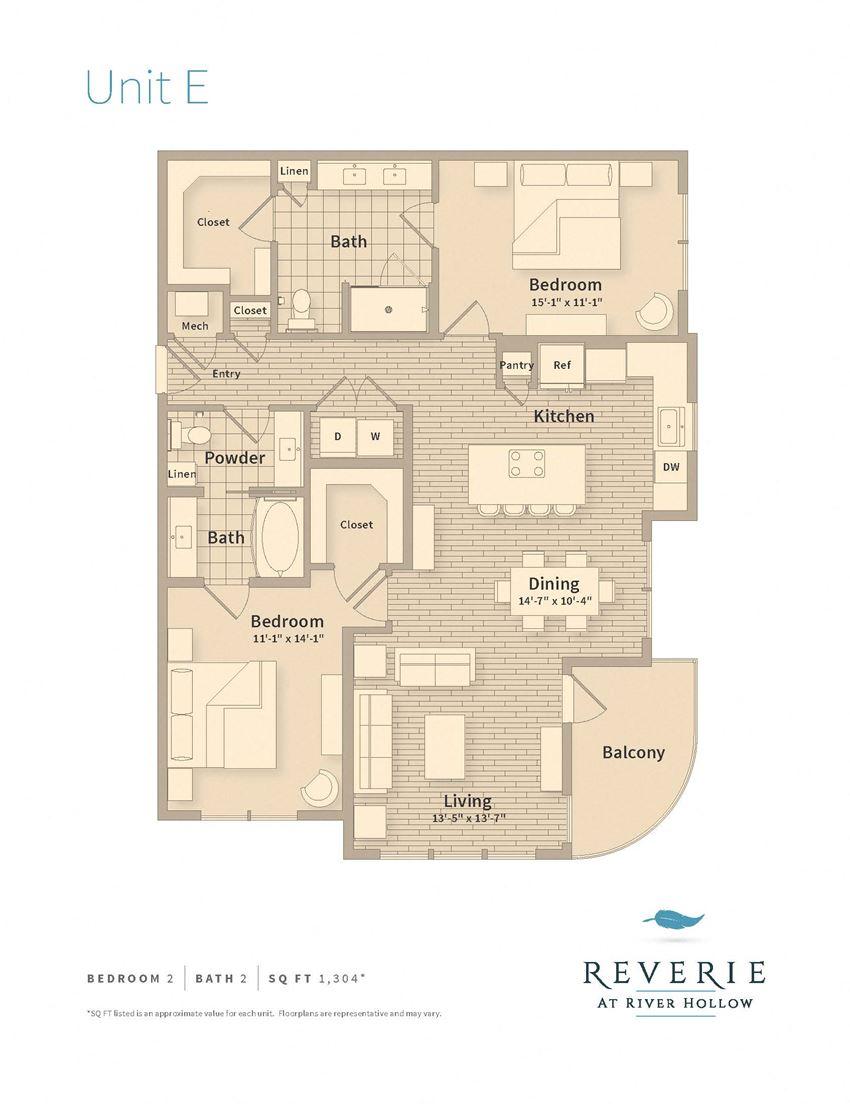 1 Bedroom 2 bath apartment rental, Plan E
