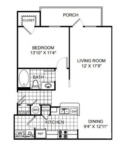 Cypress 1 bed 1 bath 823 square feet Floor Plan