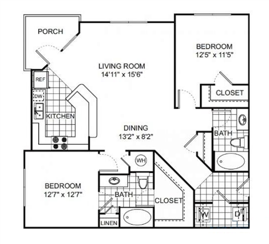 Jackson 2 bed 2 bath 1198 square feet floor plan