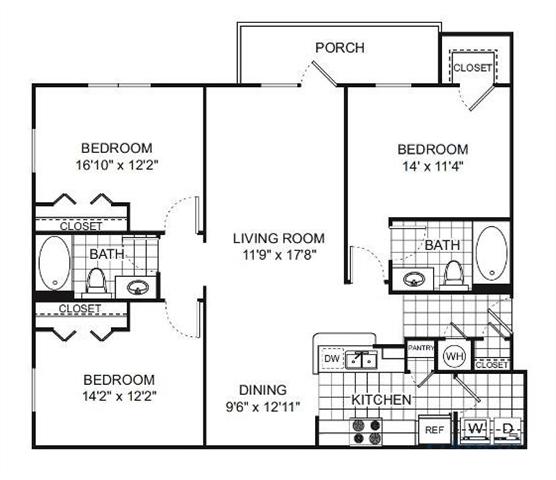 Seminole 3 bed 2 bath 1261 square feet floor plan