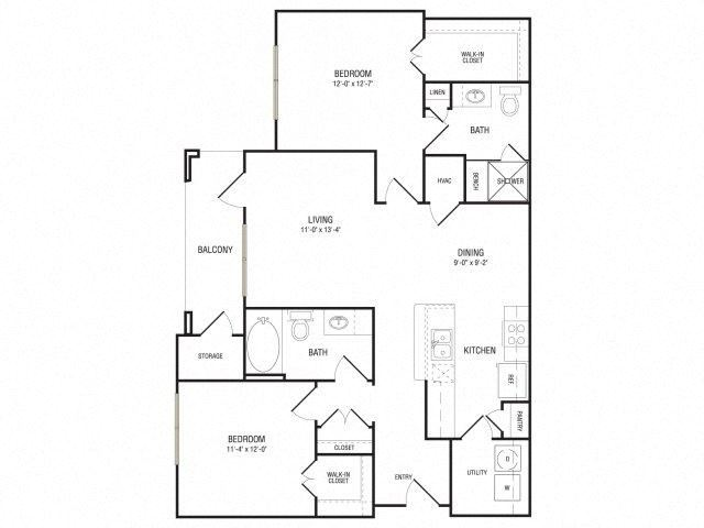 The Hester Floor Plan at Broadstone Travesia, Austin, TX, 78728