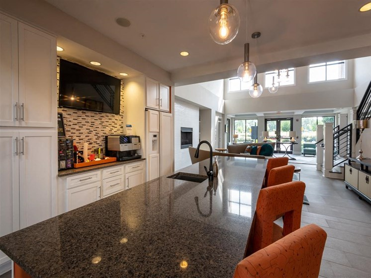 Clubhouse kitchen at The Village at Marquee Station, Fuquay-Varina, 27526