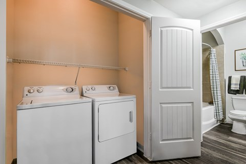 Washer and Dryer in Laundry Room at Yorktown Crossing, Houston, Texas