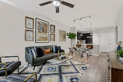 Large Open Concept Living Room at Yorktown Crossing, Houston, Texas