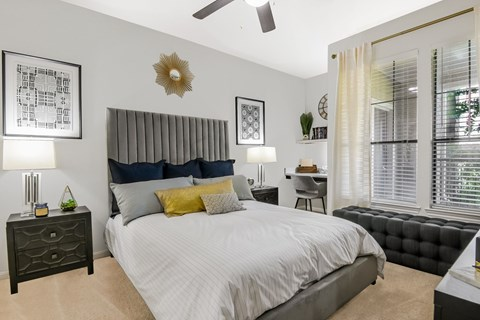 Large Bedroom with Built-In Desk at Yorktown Crossing, Houston, Texas