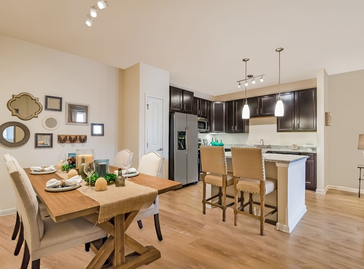 Dining Room and Kitchen View at Alexander Village, Charlotte, NC, 28262