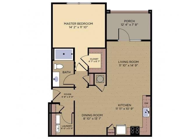 Greenway Floor plan at Alexander Village apartments, Charlotte, 28262