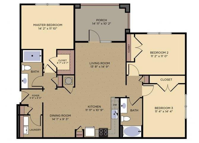 Haven Floor plan at Alexander Village, Charlotte