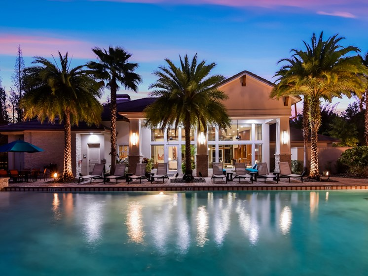 Pool-twilight at Altis at Grand Cypress, Lutz