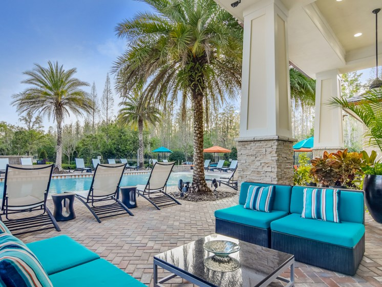 Poolside Entertainment Area at Altis at Grand Cypress, Lutz, FL, 33549