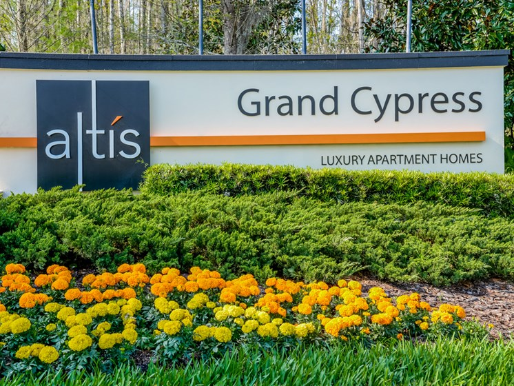Welcoming Property Signage at Altis at Grand Cypress, Lutz, Florida