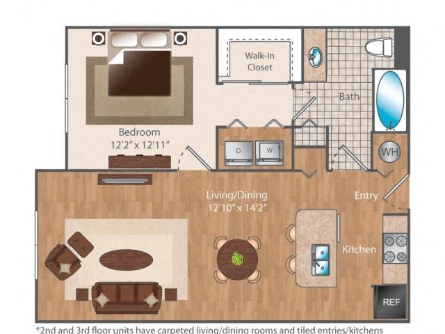 Eight06 1 bed 1 bath 806 square feet floor plan