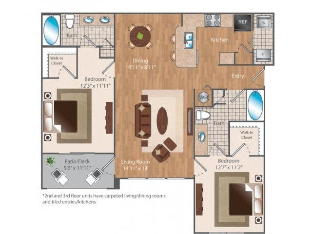 Eleven19 2 bed 2 bath 1119 square feet floor plan