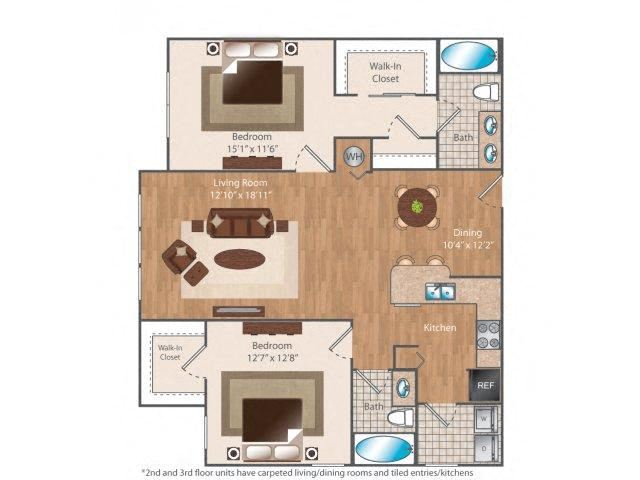 Eleven84 2 bed 2 bath 1184 square feet floor plan