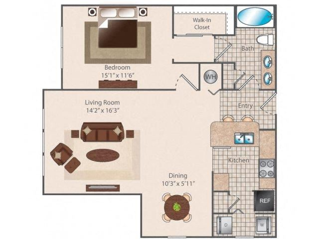 Nine55 1 bed 1 bath 955 square feet floor plan
