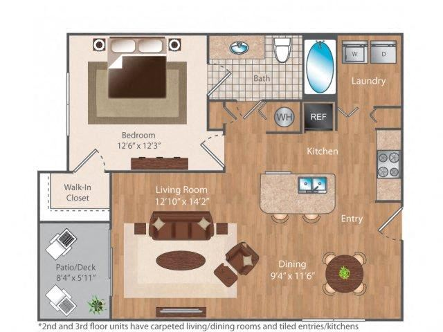Seven50 1 bed 1 bath 750 square feet floor plan