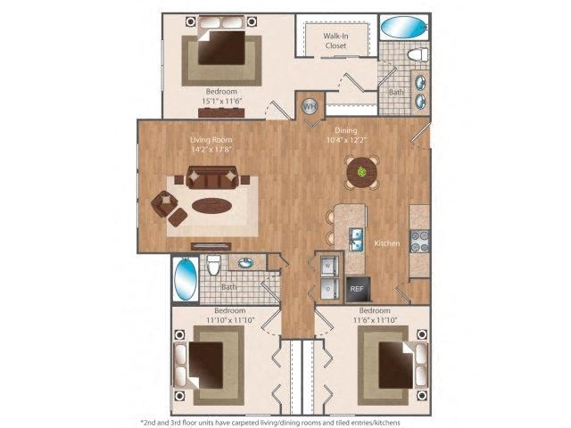 Thirteen66 3 bed 2 bath 1366 square feet floor plan
