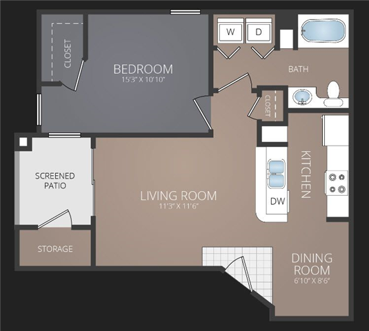 A1 Renovated Floor Plan at Promenade at Carillon, St. Petersburg, FL, 33716