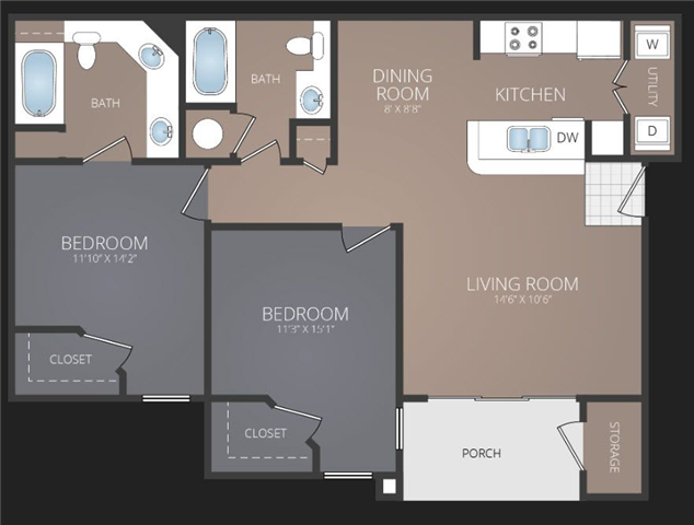 B1 Renovated Floor Plan at Promenade at Carillon, St. Petersburg, FL