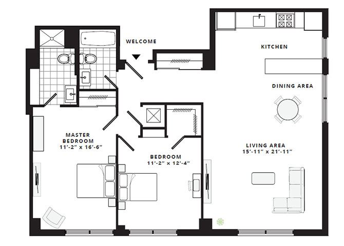 2 bd 2 bth basic floor plan 251 dekalb