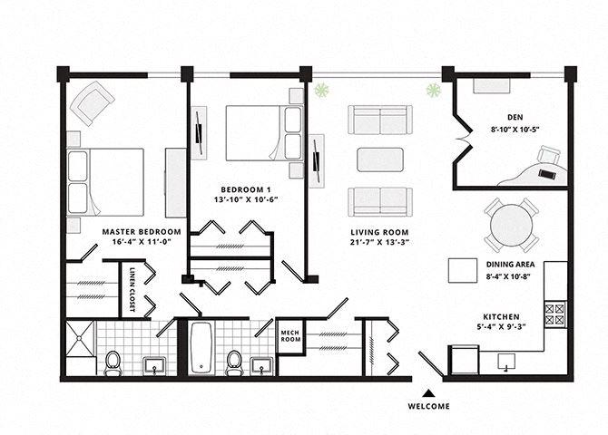 Two Bedroom Two bathroom with Den Deluxe