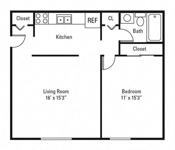 1 Bedroom, 1 Bath 640 sq. ft.