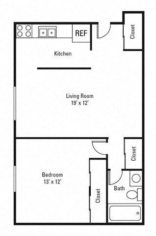 1 Bedroom, 1 Bath 650 sq. ft.