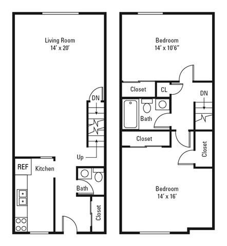 2 Bedroom, 1.5 Bath Townhome 933 sq. ft.