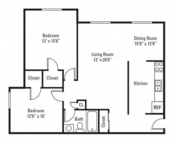 2 Bedroom, 1 Bath 933 sq. ft.