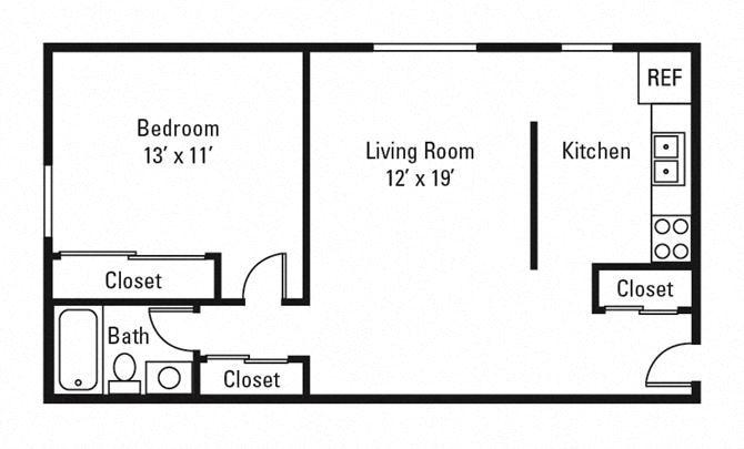 1 Bedroom, 1 Bath 625 sq. ft.