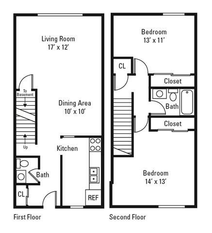 2 Bedroom, 1.5 Bath Townhome 1,000 sq. ft.