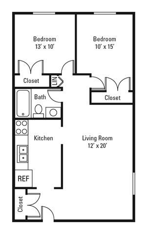 2 Bedroom, 1 Bath 730 sq. ft.