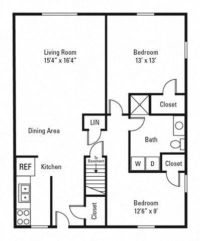 2 Bedroom, 1 Bath 850 sq. ft.