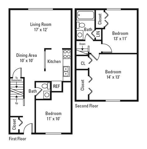 3 Bedroom, 1.5 Bath Townhome 1,050 sq. ft.