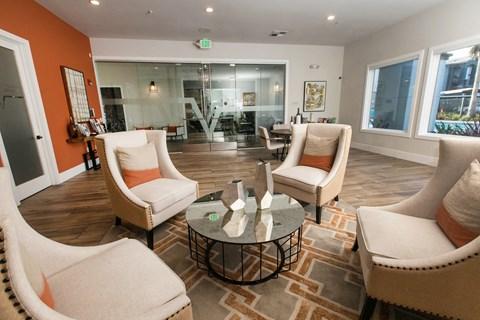Leasing office seating l Rancho Cordova, CA Avion Apartments logo