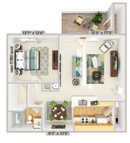 3d furnished 1 Bed 1 Bath 909 square feet floor plan Cypress