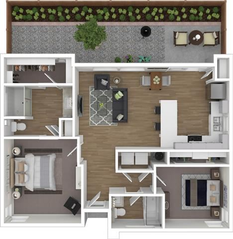 2 Bed 2 Bath 971 square feet 3d furnished floor plan 1 Story