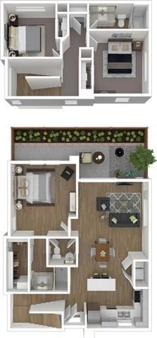 3 Bed 2.5 Bath 1383 square feet 3d furnished floor plan 2 Story